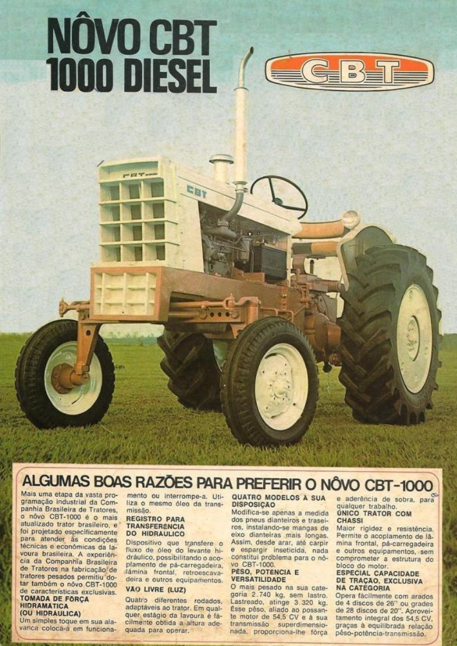 Propaganda apresentava um modelo novo de trator da Companhia Brasileira de Tratores em meados dos anos 70