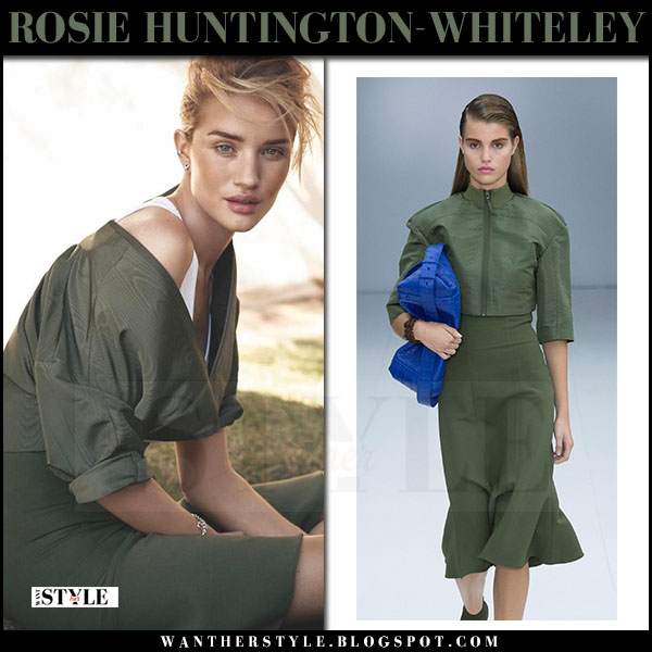 Rosie Huntington-Whiteley in green jacket and green skirt salvatore ferragamo what she wore editorial c magazine