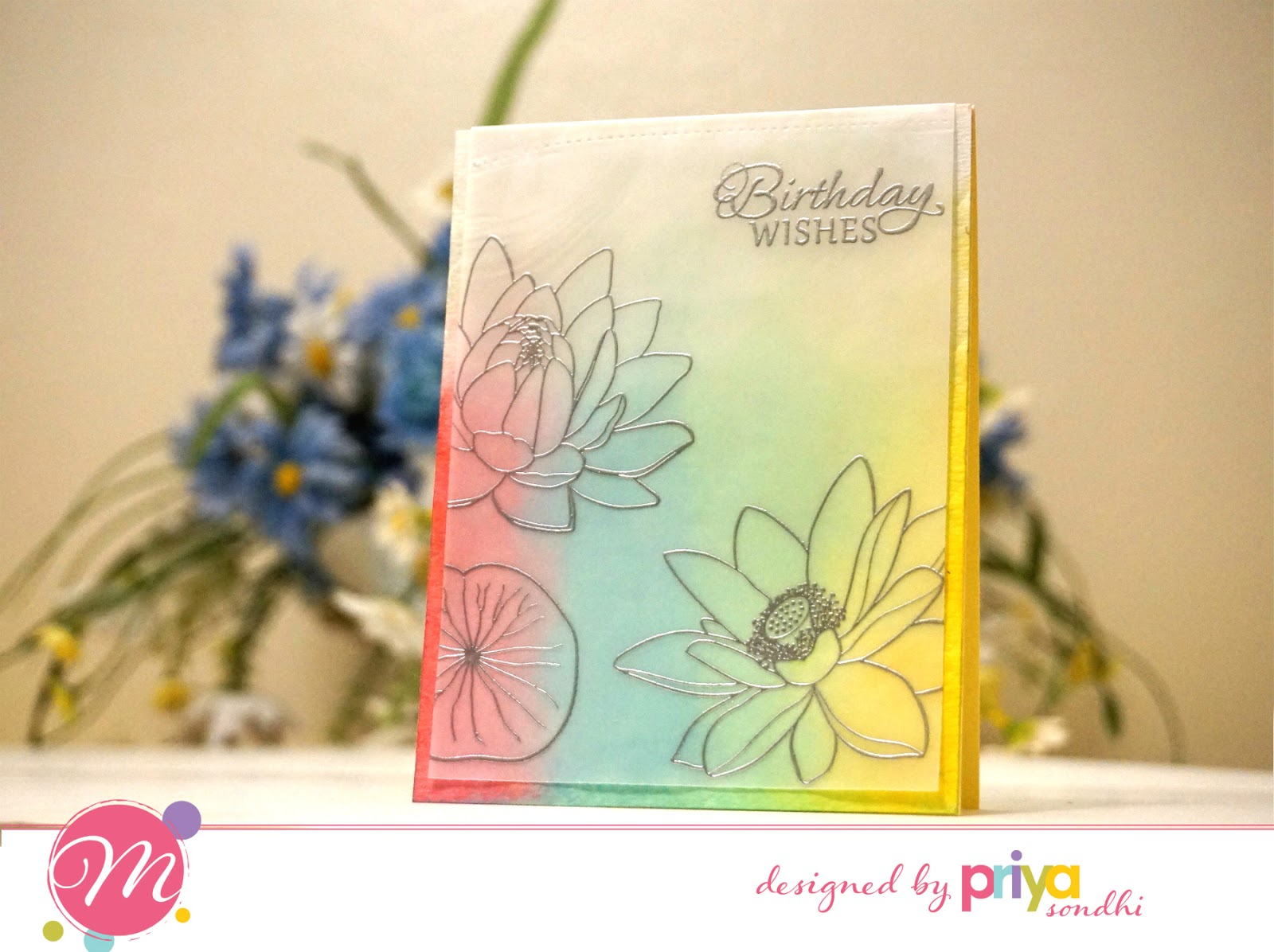 Mudra craft stamps my favorites lotus blooms and floral silhouette card 2 heat embossing on vellum izmirmasajfo