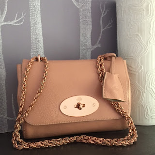 Mulberry Lily in plaster pink wrinkle patent leather with rose gold hardware
