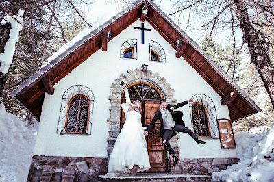 matrimonio inverno baita montagna