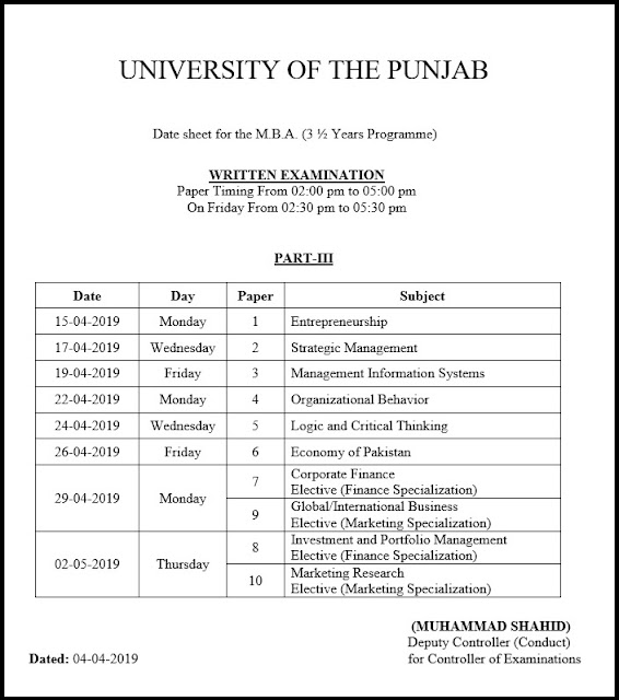 DATE SHEET FOR THE M.B.A. (3 ½ YEARS PROGRAMME) Part-III