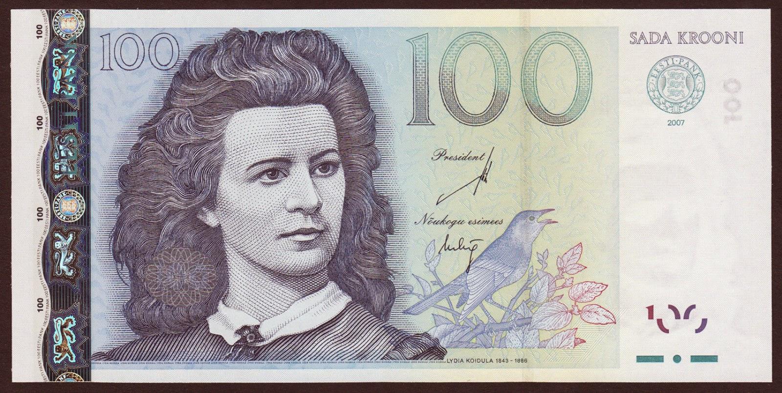 Estonia currency money 100 krooni banknote, Lydia Koidula