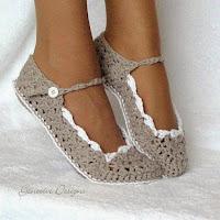 szydelkowe kapcie, buty - wzory