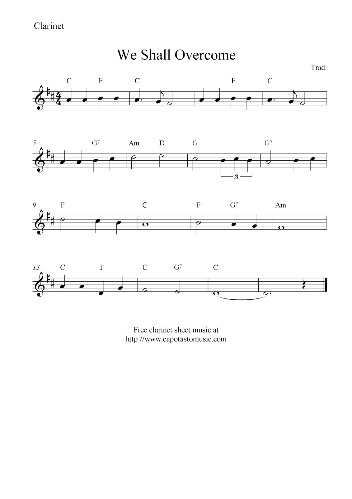 photograph about Free Printable Clarinet Sheet Music referred to as We Shall Conquer, cost-free clarinet sheet tunes notes