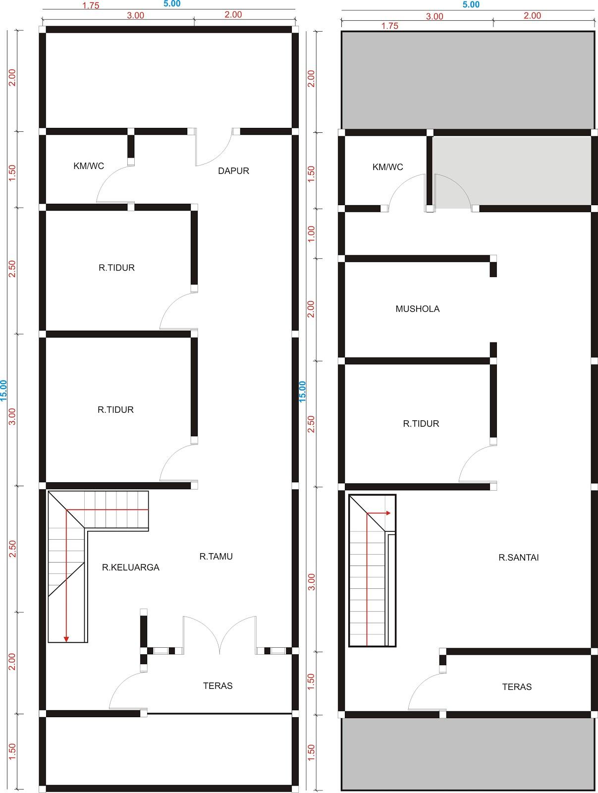 Desain Rumah 2 Lantai Ukuran 5x15 Sobat Interior Rumah