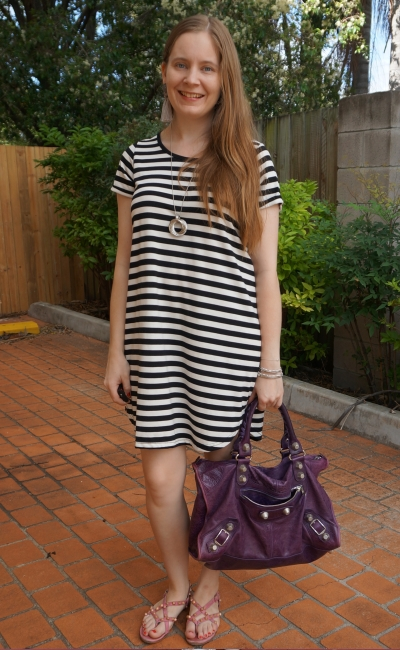 Cotton On 'Tina' white striped tee dress with studded Balenciaga accessories bag and sandals casual summer | awayfromblue