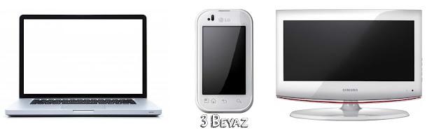 Üç beyaz Telefon Televizyon Bilgisayar