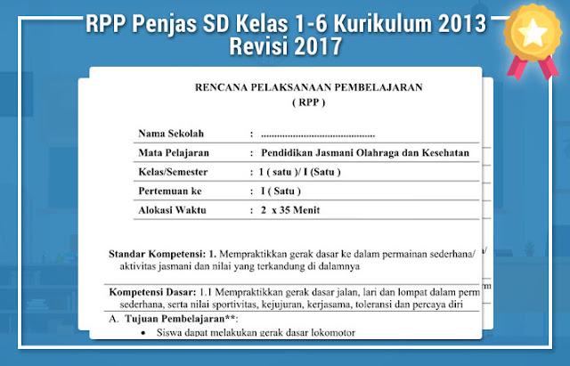 RPP Penjas SD Kelas 1-6 Kurikulum 2013 Revisi 2017