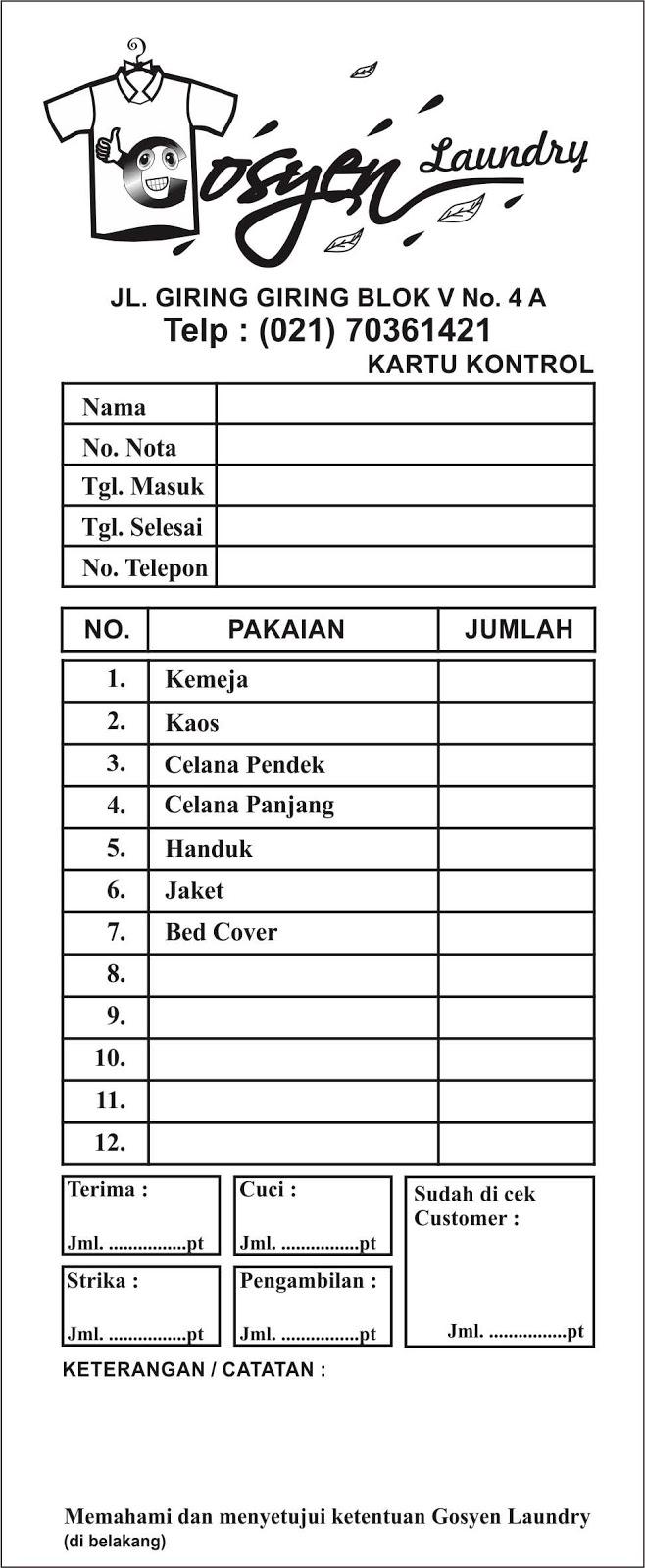 Contoh Desain Nota Goysen Cetak Nota Jakarta