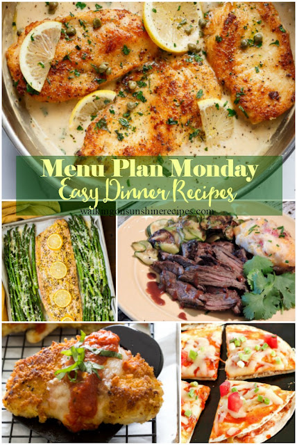 Here are FIVE easy recipes to make for dinner this week for this week's Menu Plan Monday from Walking on Sunshine Recipes.