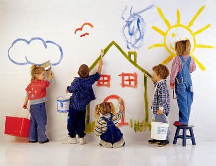 Tres niñas y dos niños pintando una pared con pinceles
