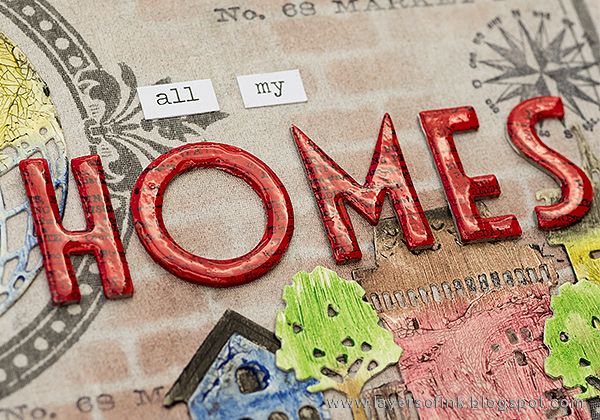 Layers of ink - Home Sweet Home Mini Book by Anna-Karin with Tim Holtz Sizzix Deco Alpha