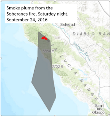 An image showing areas of smoke impact from the fire, extending mainly to the south of the fire area