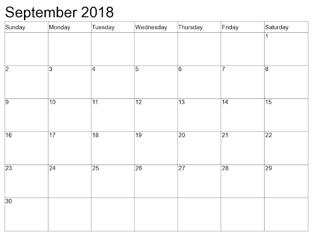 September 2018 printable calendar with holidays