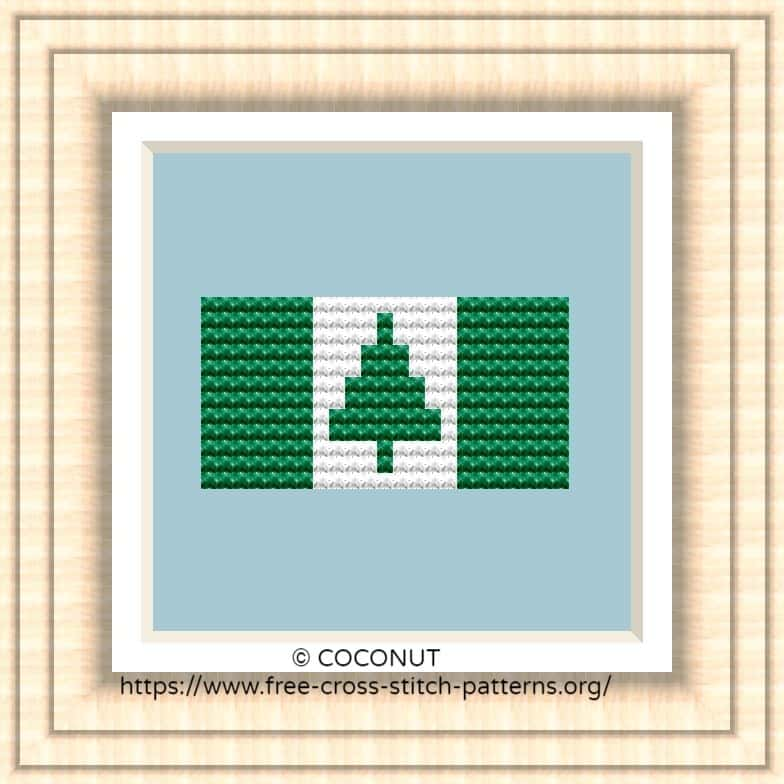 NATIONAL FLAG OF NORFOLK ISLAND CROSS STITCH CHART