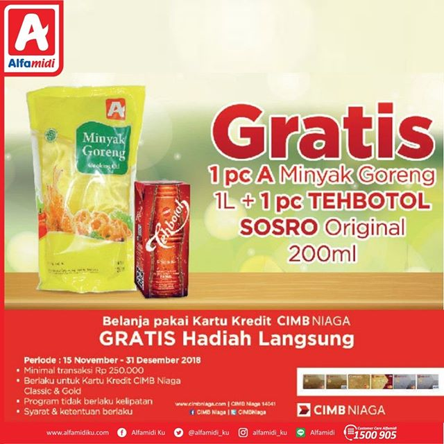 #Alfamidi - Promo Gratis Minyak Goreng 1L + 1 Teh Botol 200ml Pakai CIMB Niaga