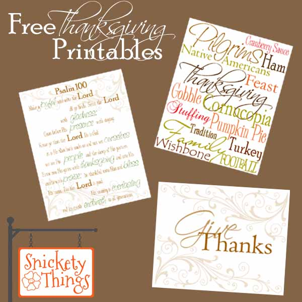 Snickety Things Free Thanksgiving Printables