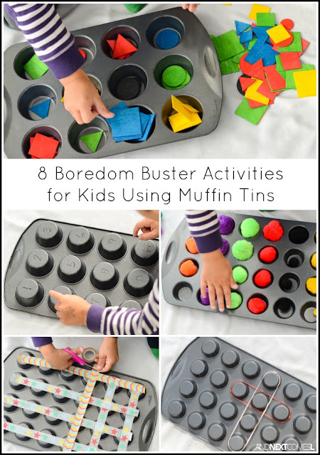 Boredom busters for kids using muffin tins from And Next Comes L