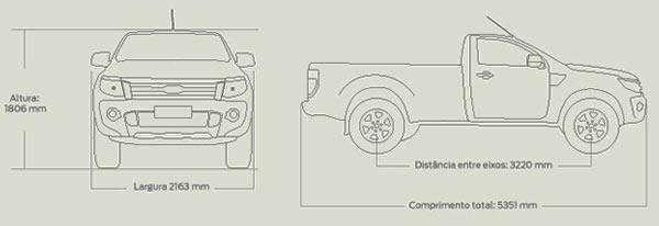 Ford Ranger cabine simples: Dimensões e especificações da