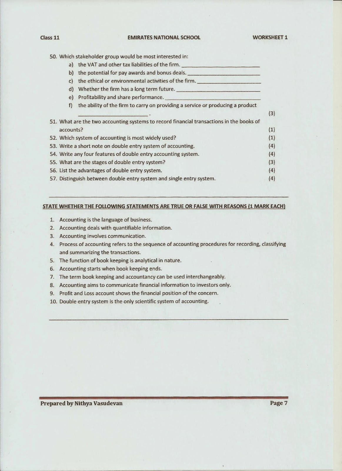 11 C Introduction To Accounting Worksheet