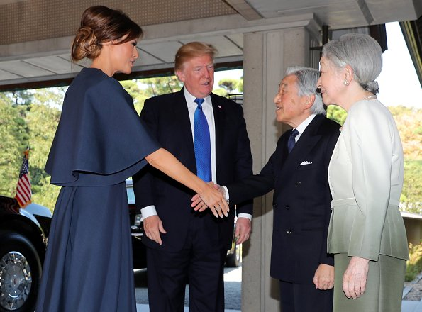 Donald Trump and First Lady Melania Trump met with Emperor Akihito and Empress Michiko at Imperial Palace