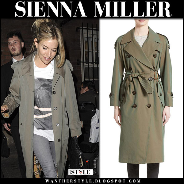 Sienna Miller in olive green trench coat Burberry Tropical Gabardine august 19 2017