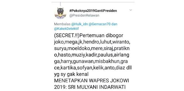 Secret..! Pertemuan Bogor Tetapkan Sri Mulyani Cawapres Jokowi