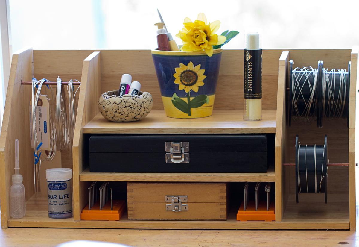 Love my art jewelry handmade lazy susan tool organizer - Lazy susan desk organizer ...