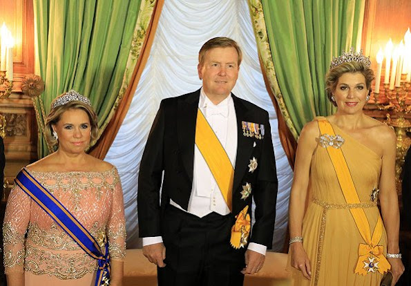 Grand Duke Henri and Grand Duchess Maria Teresa held a state banquet. Princess Stéphanie and Prince Guillaume. Diamond Tiara and earrings