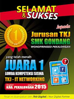 Selamat dan Sukses atas Juara 1 LKS TKJ (IT Networking) Kab. Pekalongan tahun 2015