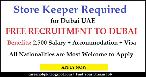 Store Keeper jobs in Dubai with Visa