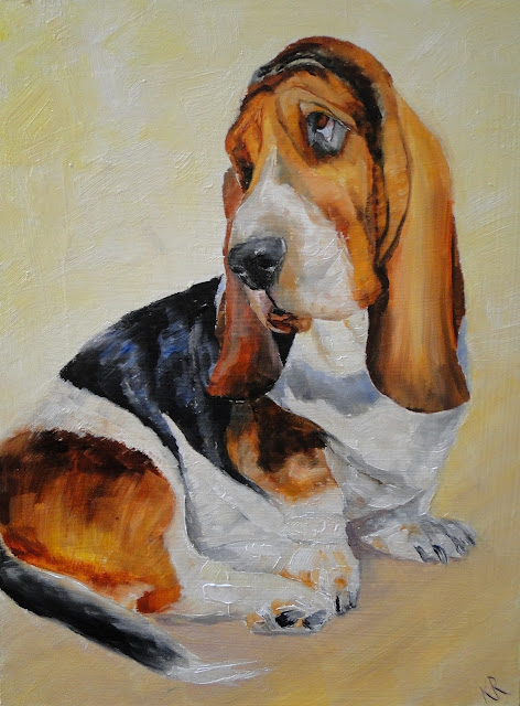 oil painting of a basset hound