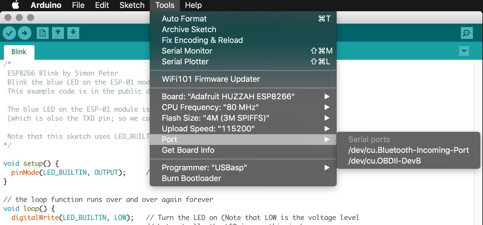 Adafruit Feather HUZZAH ESP8266 on macOS 10 13 High Sierra
