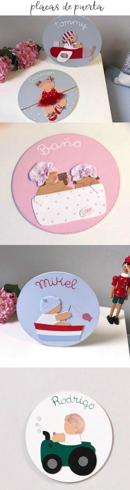 placas de puerta , carteles de puerta infantiles personalizadas