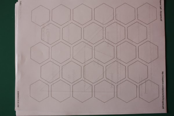 Devoted quilter how to prepare hexagons for english paper piecing using one paper template as a guide decide how wide to cut your strips of fabric you want 14 on the top and bottom for the seam allowance maxwellsz