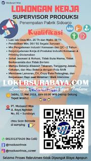 Loker Surabaya di PT. Madusari Mas Terbaru Mei 2019