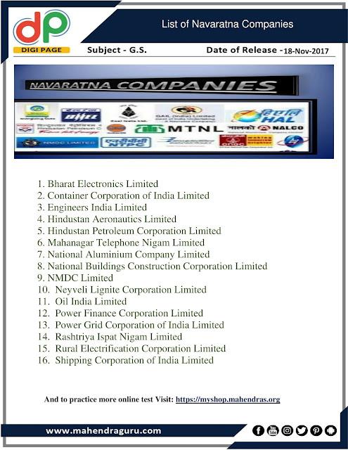 DP |List Of Navaratna Companies | 18 - 11 -17
