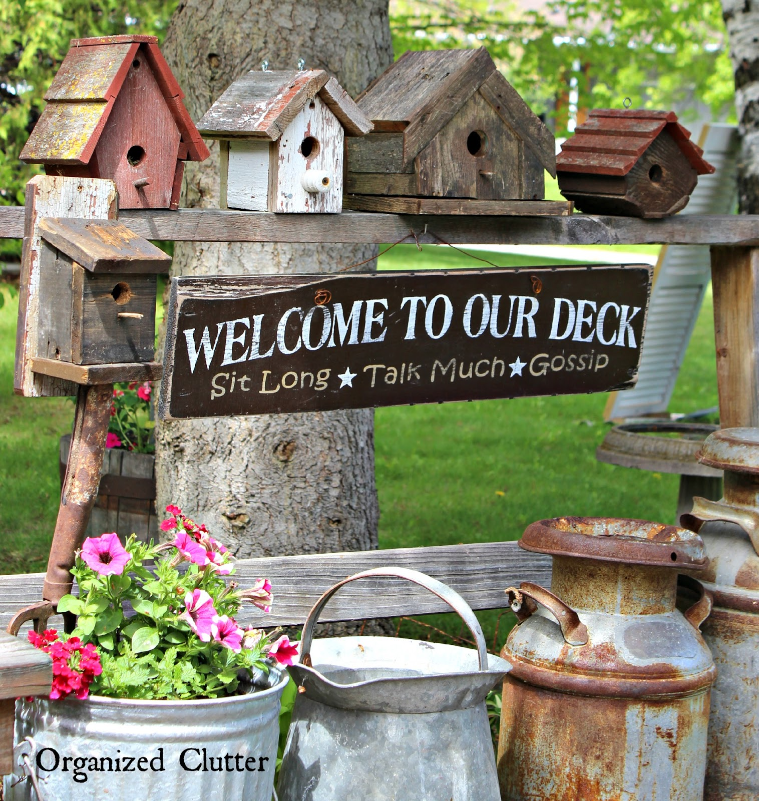 Rustic Home Furnishings And Mexican Garden Decorations By: Decorating The Deck With Rustic Birdhouses
