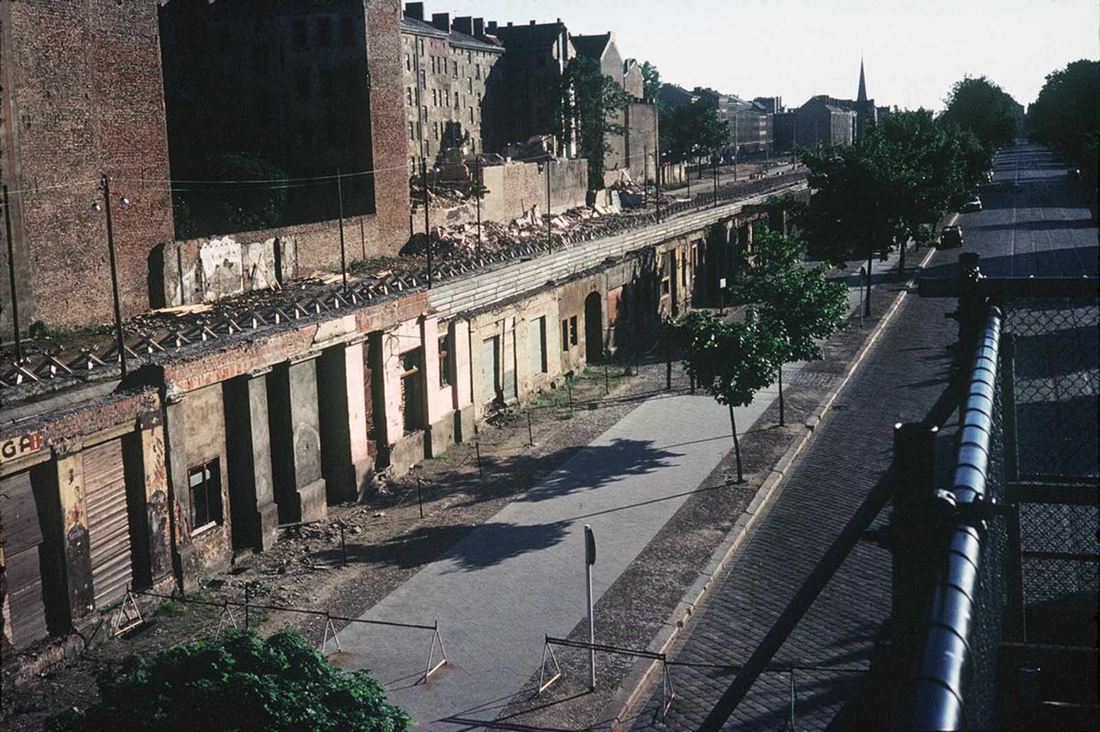 Picture taken in June 1968 of the Berlin Wall and East Berlin (Soviet sector).