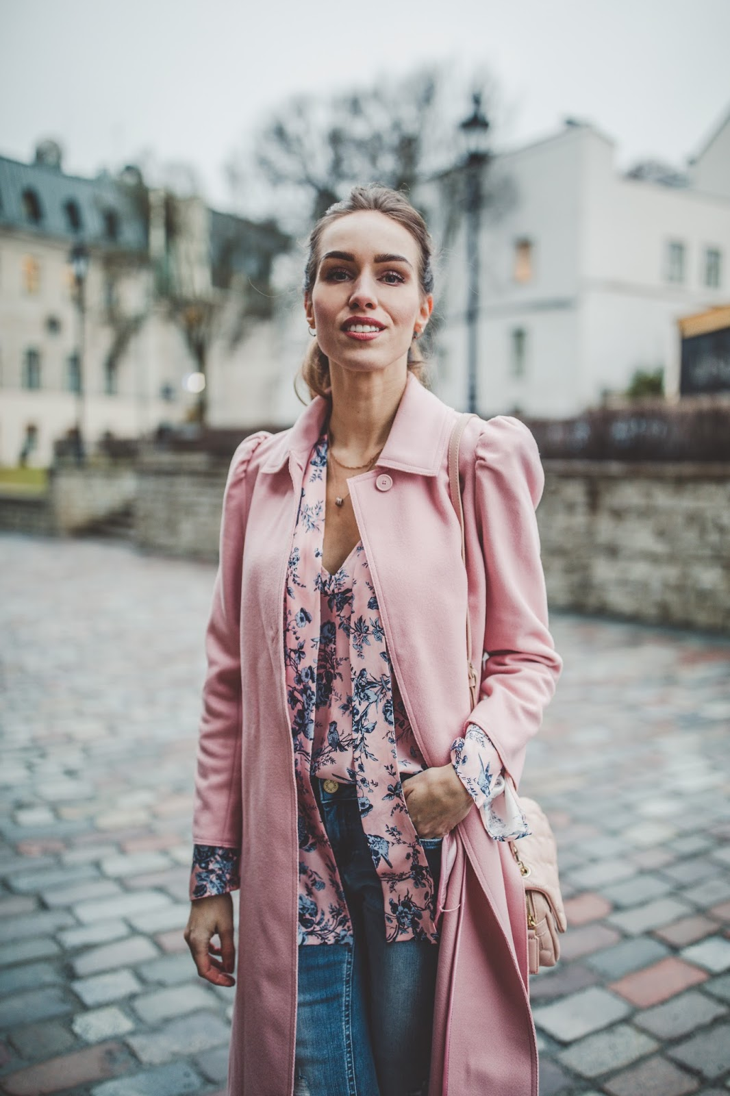 pink coat silk blouse fall outfit
