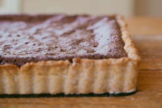 smoked sea salt & olive oil chocolate tart