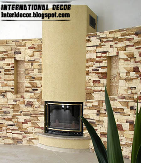 Stone Wall Decorations For Interiors. Natural Wood Grain Is Featured ...