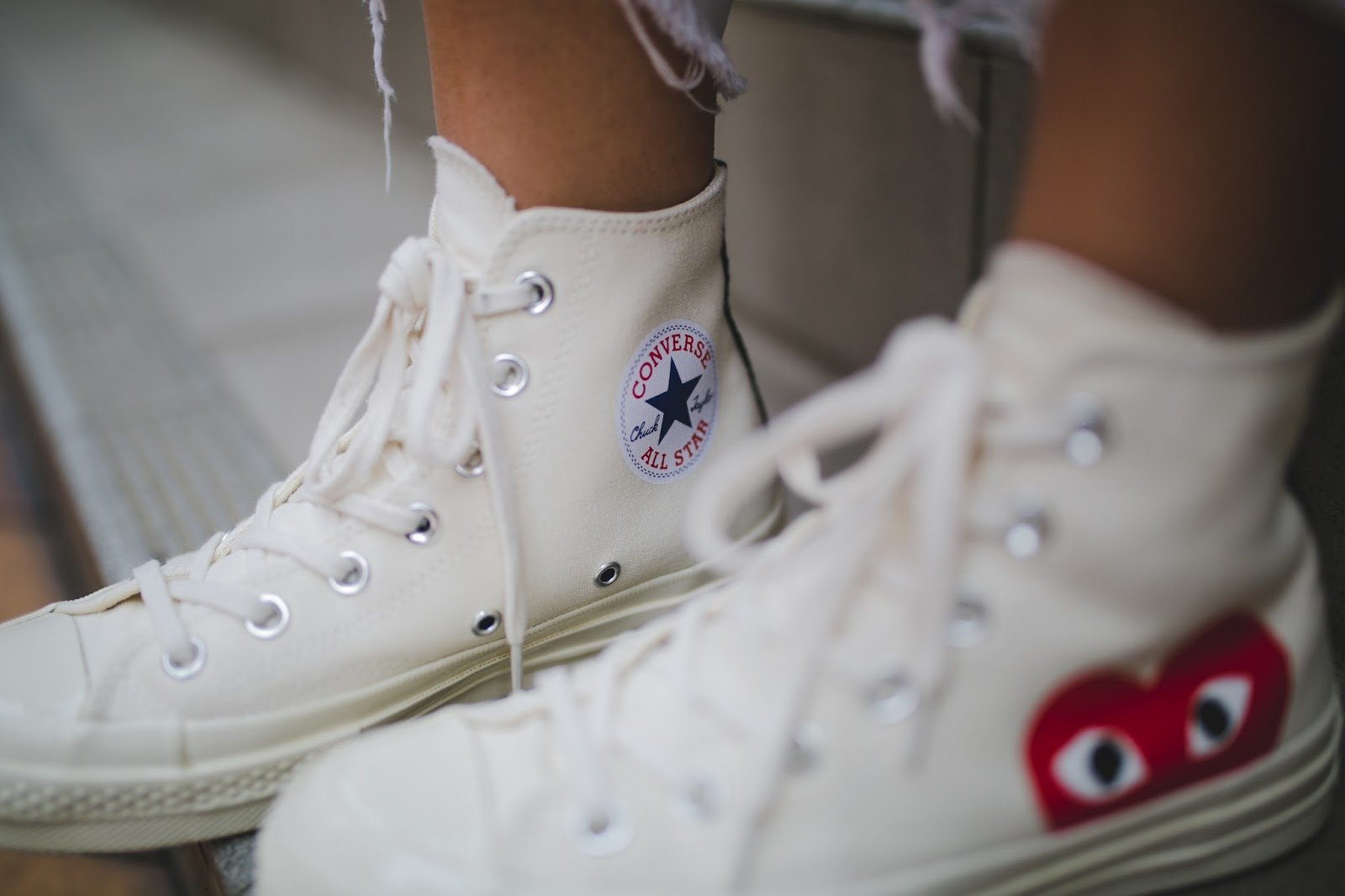 macau fashion blogger shoes comme des garcons play x converse sneakers