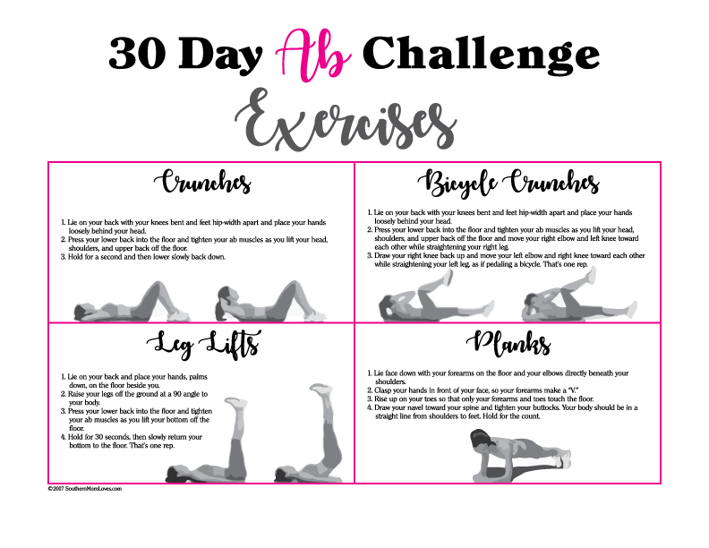 picture regarding 30 Day Plank Challenge Printable known as Southern Mother Enjoys: 30 Working day Ab Difficulty with Calendar and