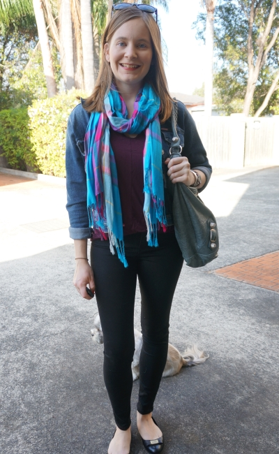 double denim skinny jeans and tee tartan scarf SAHM spring style | Away From Blue