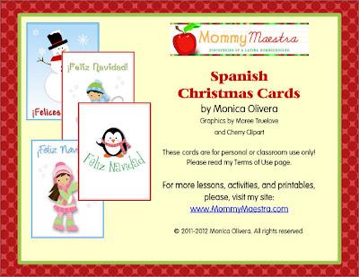 Mommy Maestra Spanish Christmas Cards {Printable}