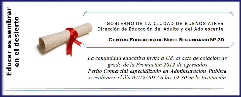 Tarjeta De Invitación A Acto De Colacion De La Secundaria