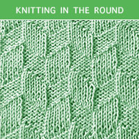 Parallelogram Knit Purl in the round | Knitting Stitch Patterns.