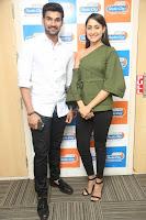 Pragya Jaiswal in a single Sleeves Off Shoulder Green Top Black Leggings promoting JJN Movie at Radio City 10.08.2017 151.JPG